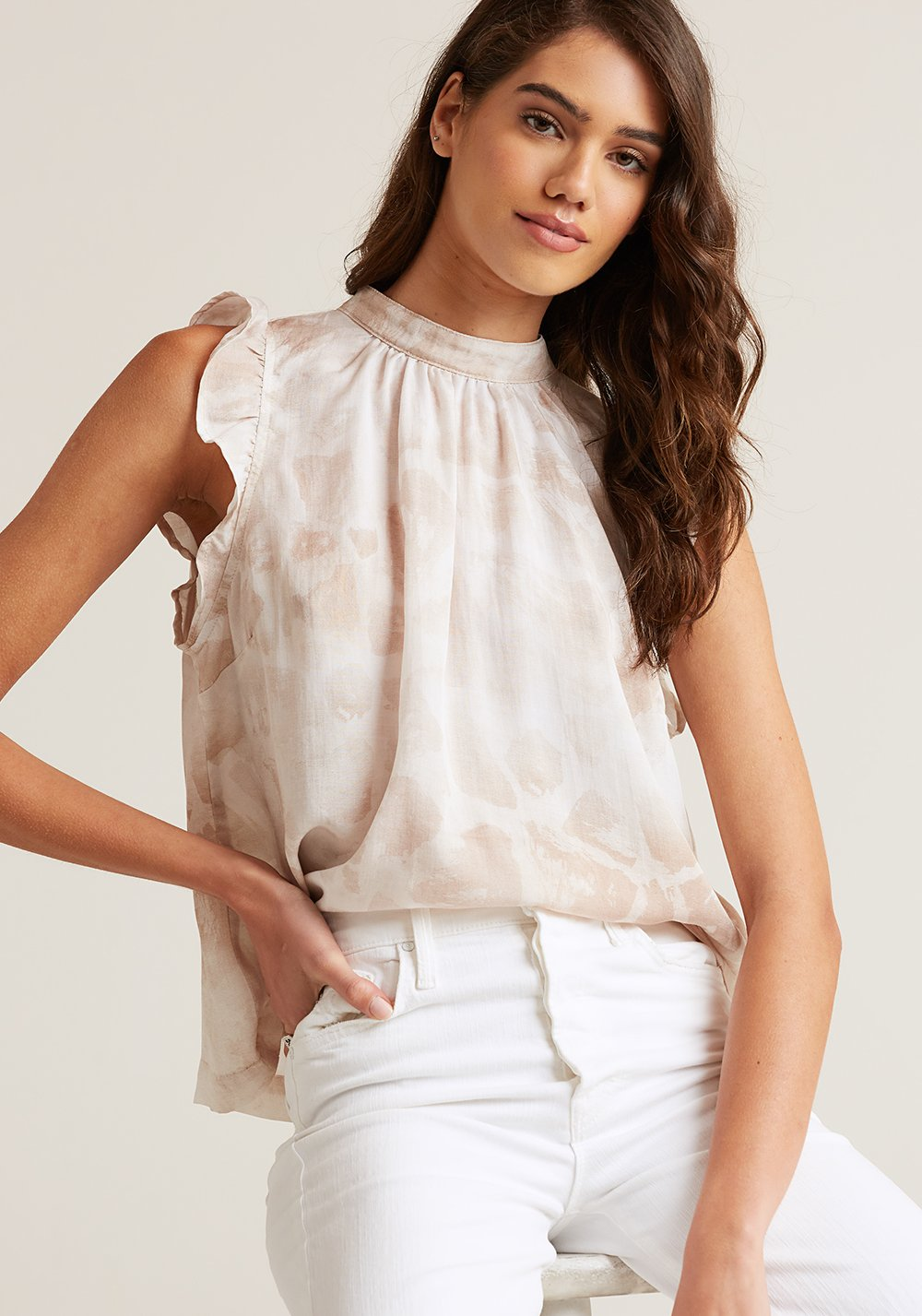 Ruffle Top Mock Neck In Safari Khaki Giraffe