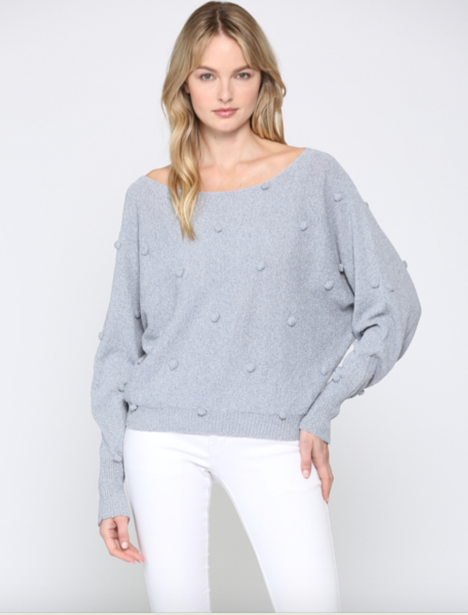 Pom Pom Sweater In Pearl Blue