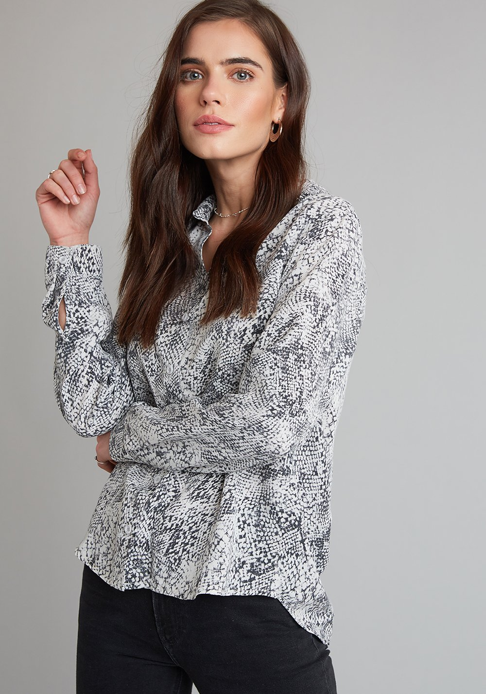 Button Down Shirt In Snake Print