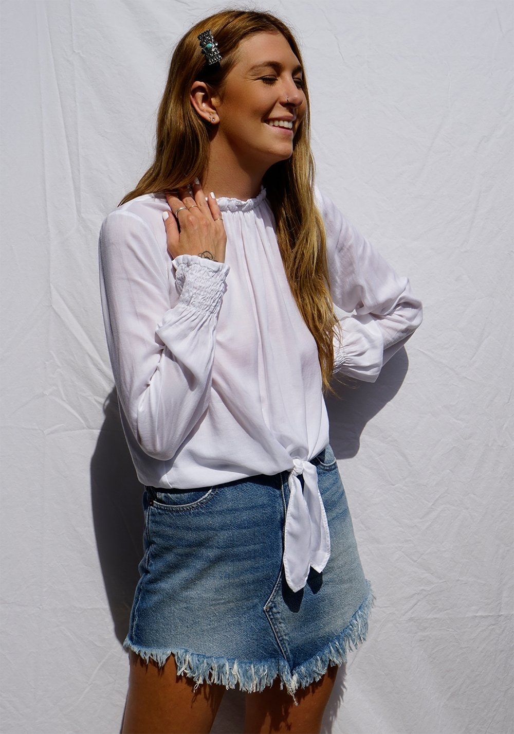 Smocked Tie Front Top In White