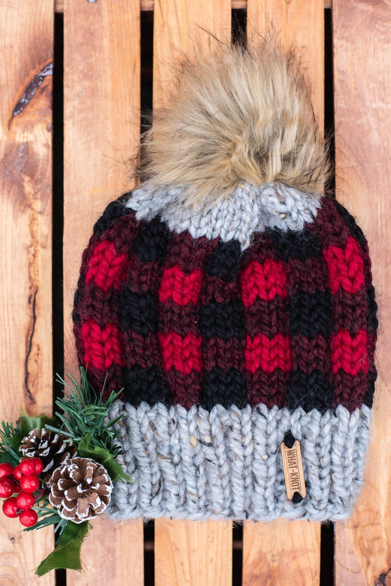 Plaid Knit Hat In Red
