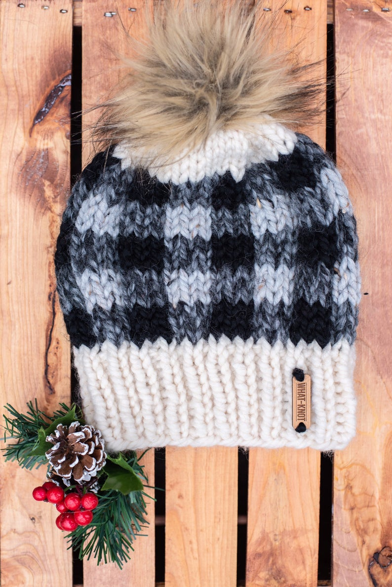 Plaid Knit Hat In Grey