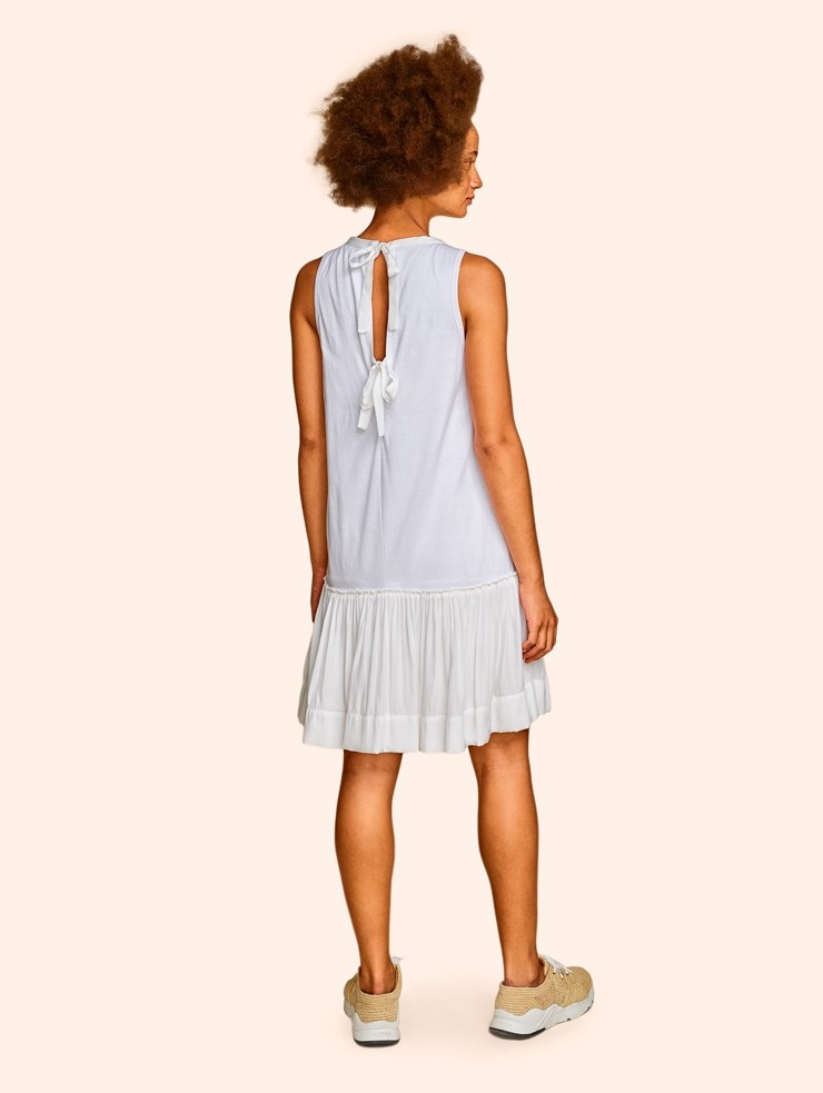 Kinly White Twin Tie Dress Back View