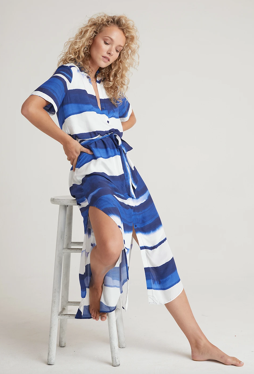 Maxi Shirt Dress In Blue Waves