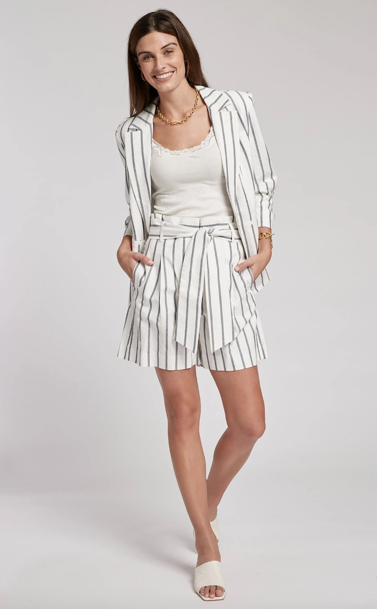 Stripe Cotton & Linen Shorts