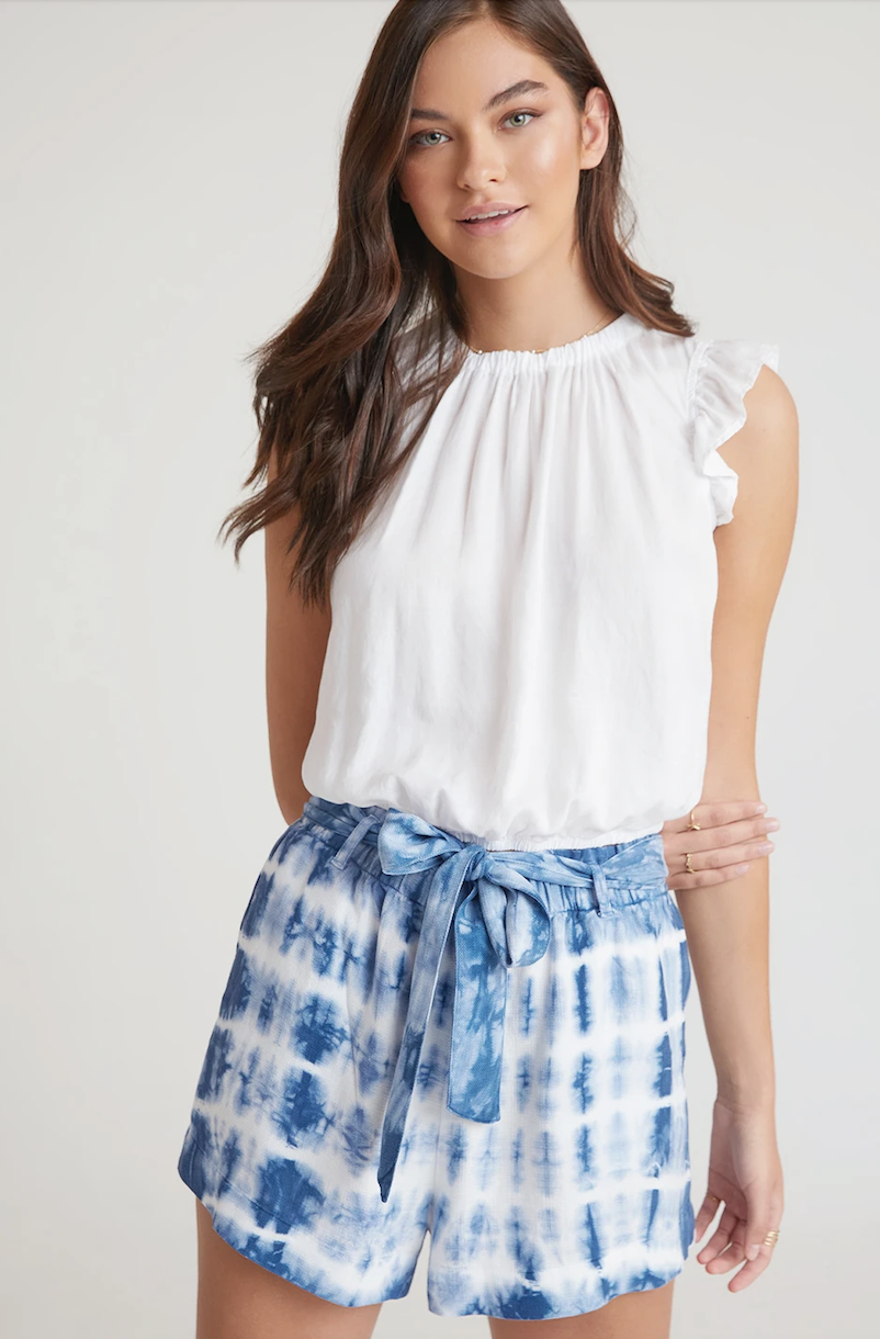 Indigo Tie Dye High Waist Shorts