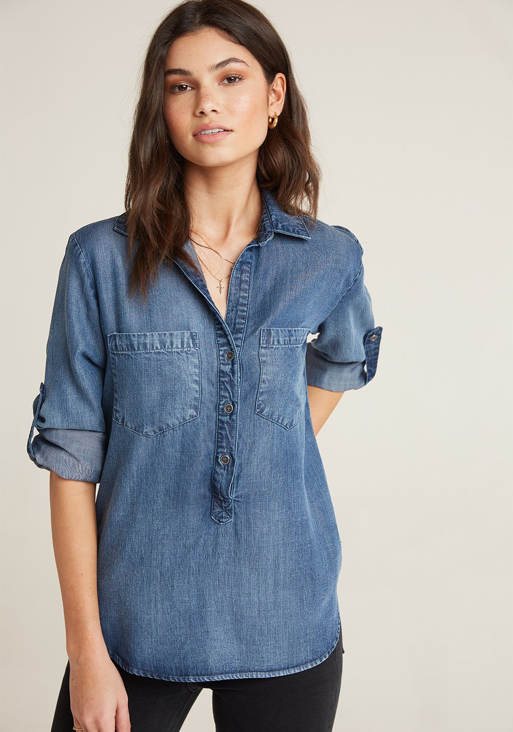 Pullover Placket Shirt In Evening Wash