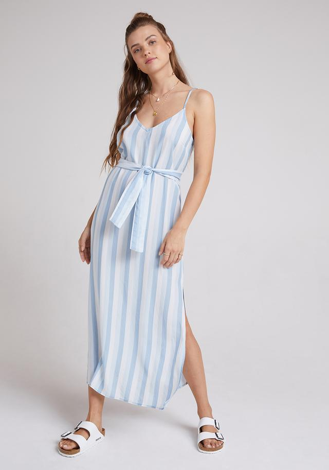 Smocked Waist Maxi Dress In Indigo Stripes