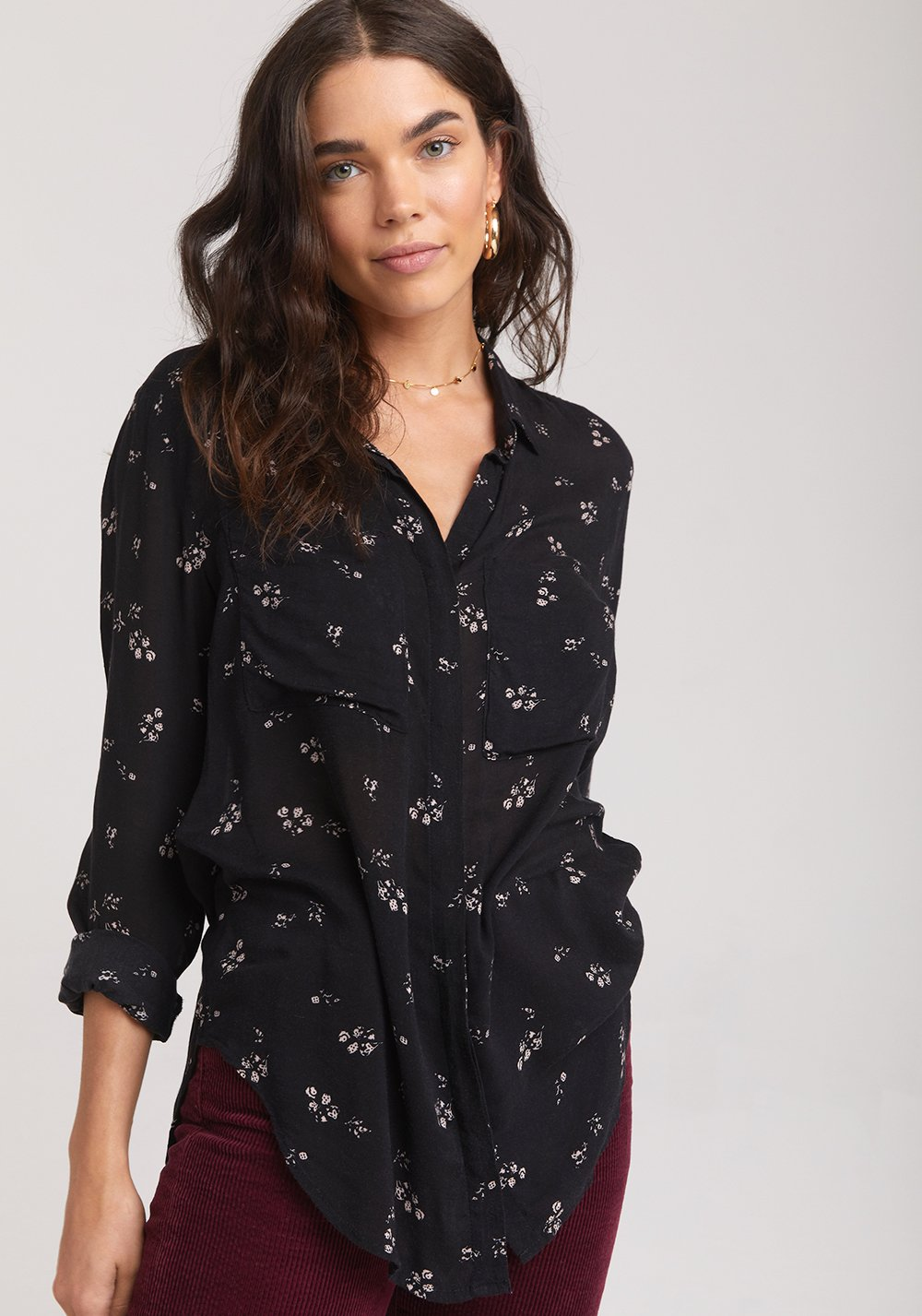 Hipster Button Down Scattered Floral