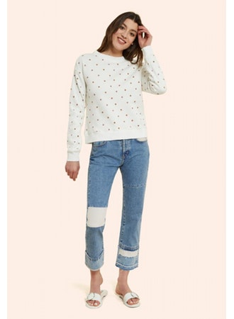 Embroidered Polka Dot Sweatshirt