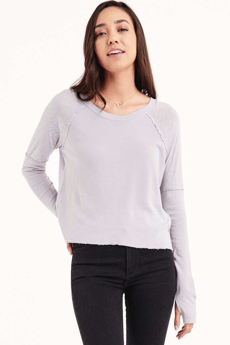 Indra Long Sleeve With Thumbhole In WHITE