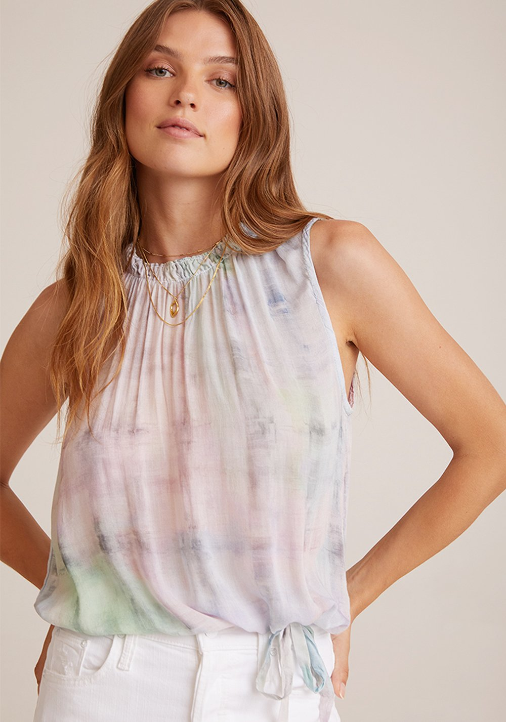 Sleeveless Shirred Neck Top