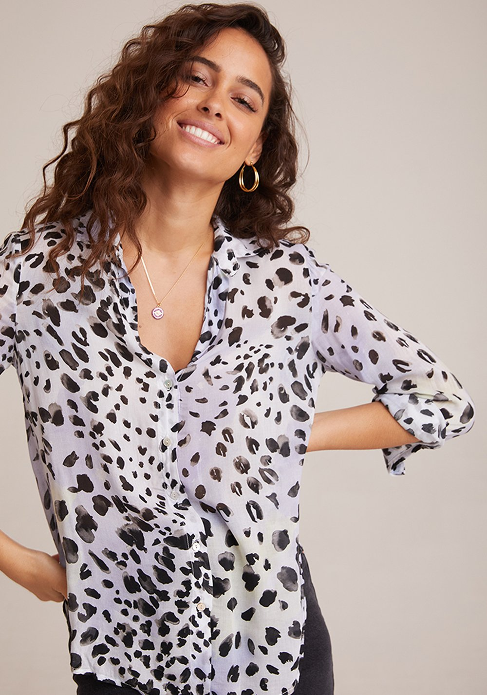 Ink Dots Flowy Button Down