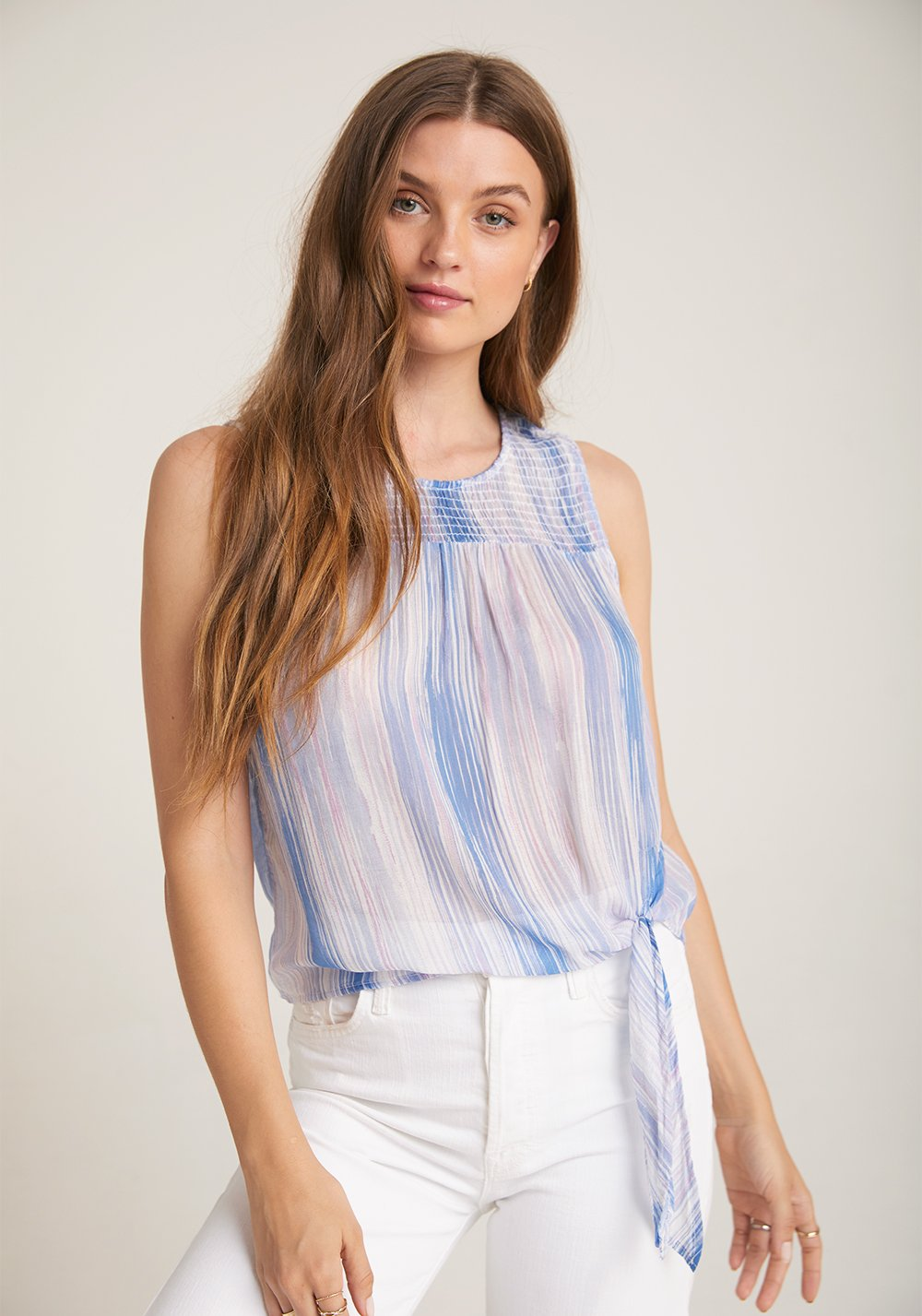 Sleeveless Smocked Tie Side Tank