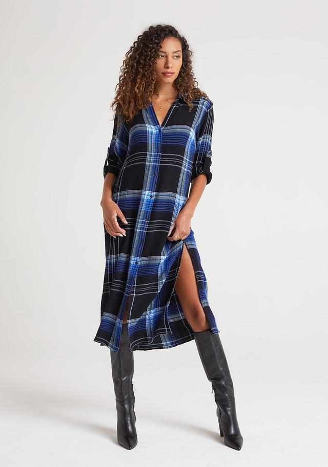 Cobalt Plaid Duster Dress