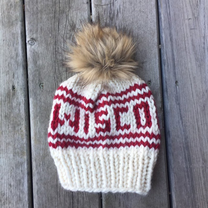 Wisconsin White Hat With Red Letter