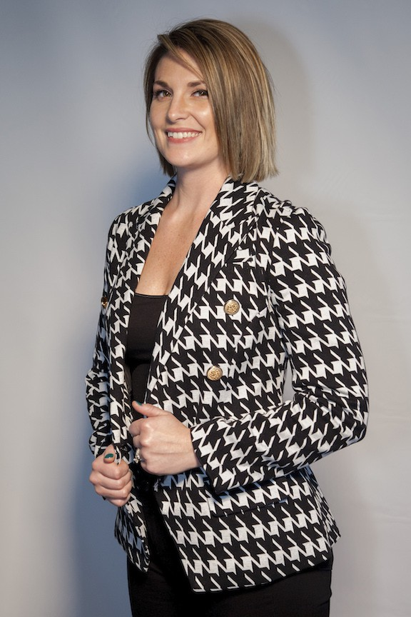 Houndstooth Jacket With Gold Buttons
