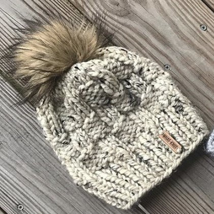 Basket Weave Knit Hat In Oatmeal
