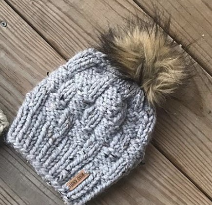 Basket Weave Knit Hat In Marble (Grey)